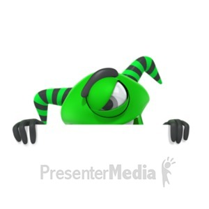ID# 19844 - Monster Hiding Behind Wall - Presentation Clipart