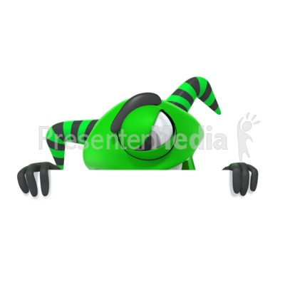 Monster Hiding Behind Wall PowerPoint Clip Art