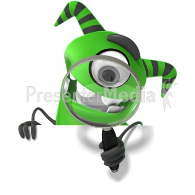 M Monster Holding Magnifying Glass PowerPoint Clip Art