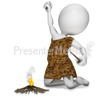Caveman Start Fire PowerPoint Clip Art