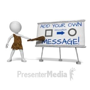 ID# 19917 - Caveman Presenting Custom Board - Presentation Clipart
