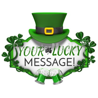 St Patricks Day Hat Sign Cheers Presentation clipart