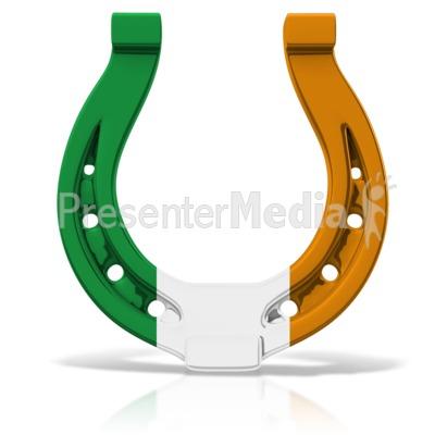 Irish Colored Horseshoe PowerPoint Clip Art