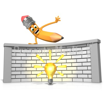 Getting Over Idea or Writers Block PowerPoint Clip Art