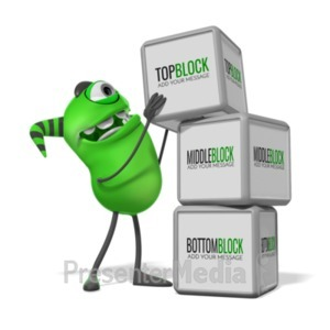 ID# 20079 - Monster Three Blocks - Presentation Clipart