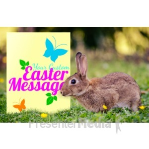 ID# 20094 - Easter Bunny Sign - Presentation Clipart