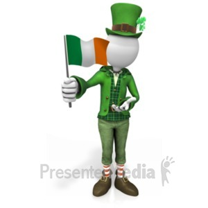 ID# 20111 - Irish Figure Waving Flag - Presentation Clipart
