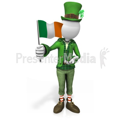 Irish Figure Waving Flag PowerPoint Clip Art