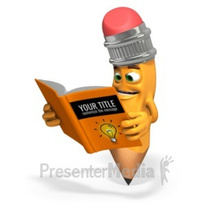 ID# 20129 - Scribbles Pencil Read Book - Presentation Clipart