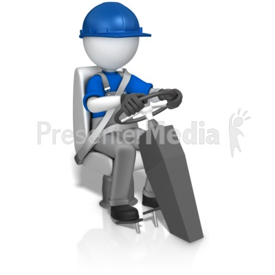 Worker In Seat Behind Wheel PowerPoint Clip Art