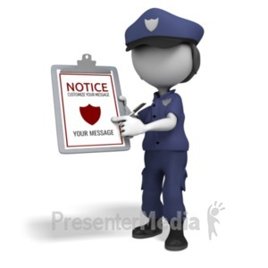 ID# 20193 - Police Officer Clipboard - Presentation Clipart