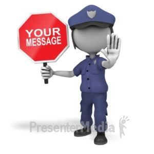 ID# 20194 - Police Officer Stop Sign - Presentation Clipart