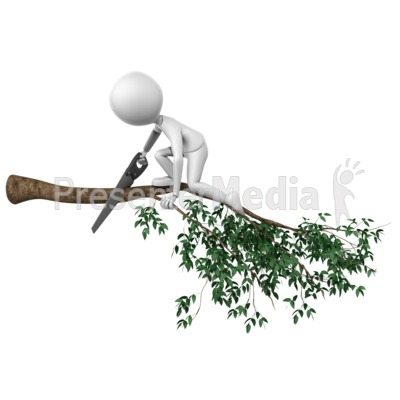 Cutting Branch Wrong PowerPoint Clip Art