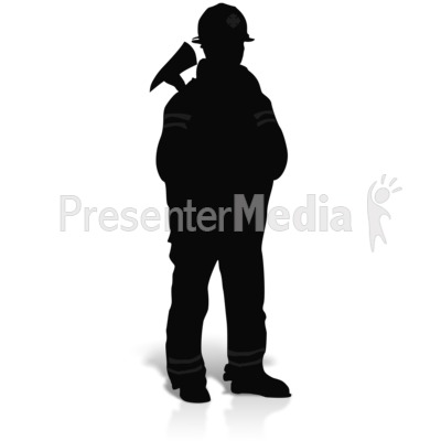 Firefighter Axe Silhouette Presentation clipart