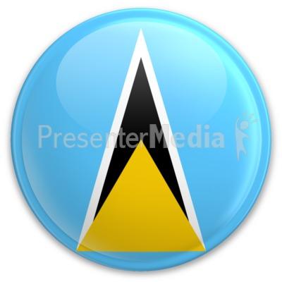 Flag Saint Lucia Button PowerPoint Clip Art