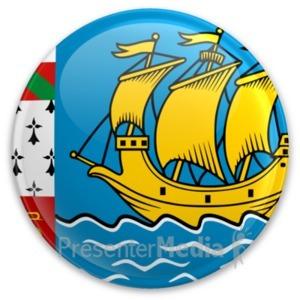 ID# 20304 - Flag Saint Pierre And Miquelon Button - Presentation Clipart