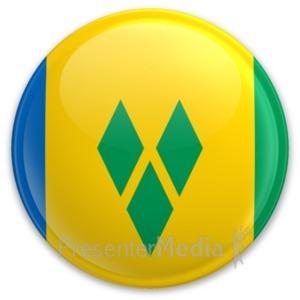 ID# 20305 - Flag Saint Vincent And The Grenadines Bu - Presentation Clipart