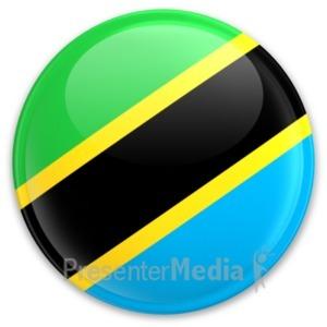 ID# 20314 - Flag Tanzania Button - Presentation Clipart