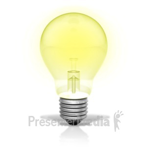ID# 20320 - Single Light Bulb Illuminated - Presentation Clipart