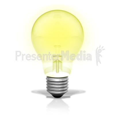 Single Light Bulb Illuminated PowerPoint Clip Art