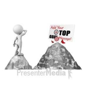ID# 20325 - Figure Looking At Mountain Top Sign - Presentation Clipart