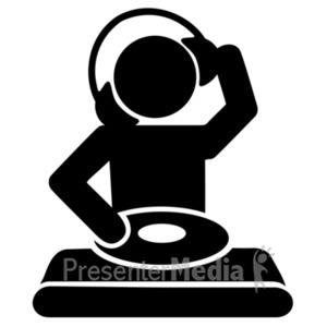 ID# 20334 - Dj Mixing Record Silhouette Icon (black) - Presentation Clipart