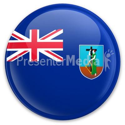 Flag Montserrat Button PowerPoint Clip Art