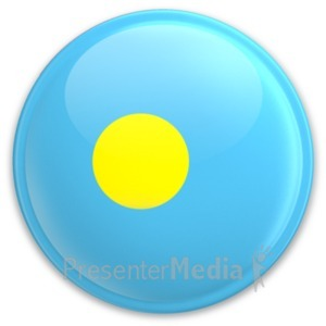 ID# 20341 - Flag Palau Button - Presentation Clipart