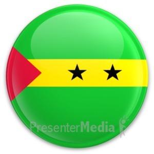 ID# 20347 - Flag Sao Tome And Principe Button - Presentation Clipart