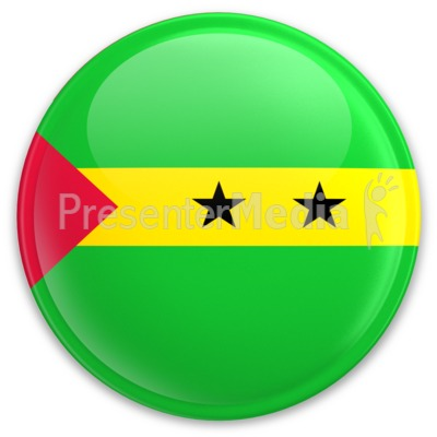 Flag Sao Tome And Principe Button PowerPoint Clip Art