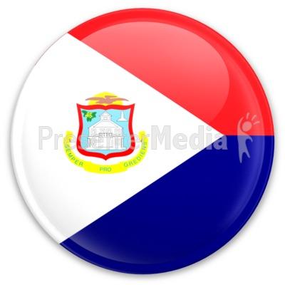 Flag Sint Maarten Button PowerPoint Clip Art