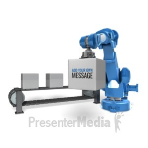 ID# 20402 - Robot Arm Conveyor Belt - Presentation Clipart