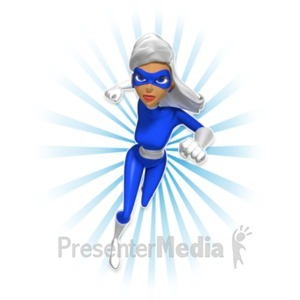 ID# 20417 - Supergal Running At Camera - Presentation Clipart