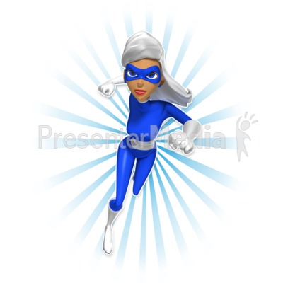 Supergal Running At Camera PowerPoint Clip Art