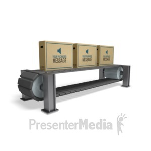 ID# 20424 - Boxes On Conveyor - Presentation Clipart