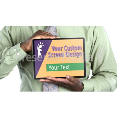 Jake Holds Tablet Horizontal Custom Presentation clipart