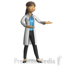 ID# 20581 - Female Doctor Present Gesture - Presentation Clipart