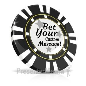ID# 20591 - Custom Black Poker Chip - Presentation Clipart