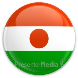 ID# 20603 - Flag Niger Button - Presentation Clipart