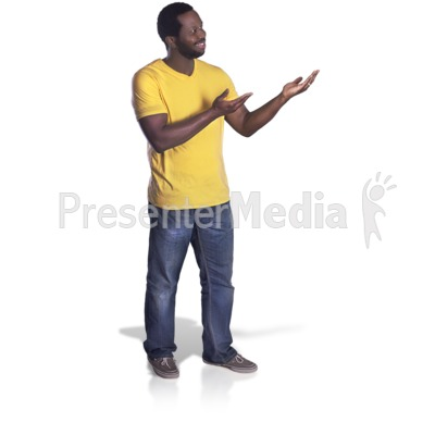Man Presenting To The Side PowerPoint Clip Art