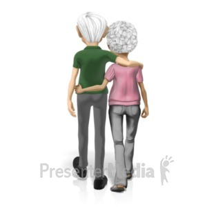 ID# 20627 - Old Couple Holding One Another - Presentation Clipart