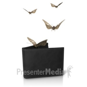 ID# 20630 - Wallet Moths Flying Out - Presentation Clipart