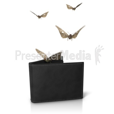 Wallet Moths Flying Out PowerPoint Clip Art
