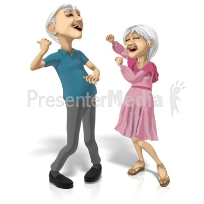 Old Couple Dancing Machines PowerPoint Clip Art