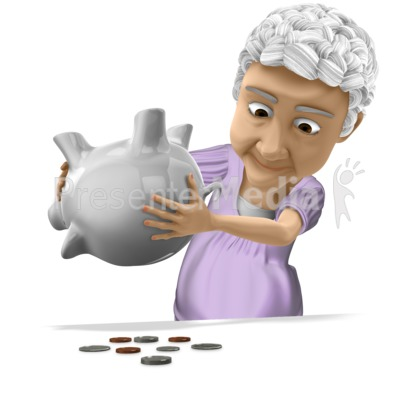 Bernice Tipping Piggy Bank PowerPoint Clip Art