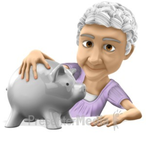 ID# 20638 - Old Bernice Holding Piggy Bank - Presentation Clipart