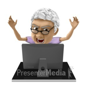 ID# 20660 - Bernice Frustrated Computer - Presentation Clipart