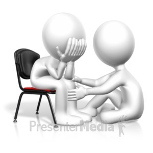 ID# 20665 - Figure Comforting Another - Presentation Clipart