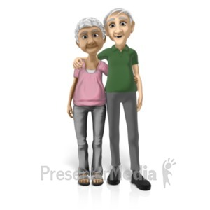 ID# 20671 - Old Couple Standing Together - Presentation Clipart