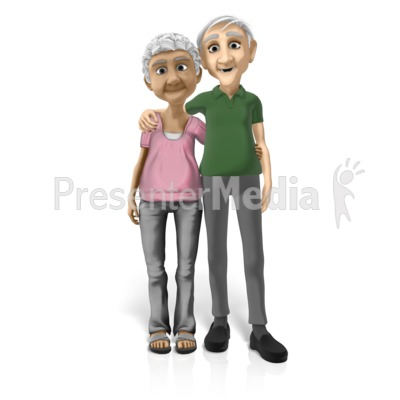 Old Couple Standing Together PowerPoint Clip Art